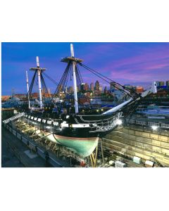 USS Constitution in Dry Dock at Sunset Matted Photograph