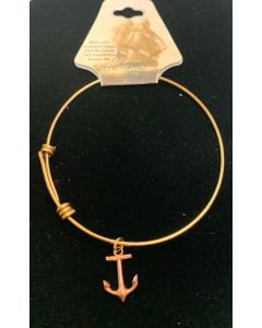 USSC Copper: Brass Bracelet with Anchor Charm
