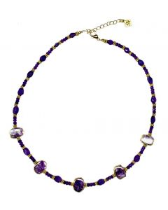 Natural Sliced and Faceted Amethyst Bead Necklace