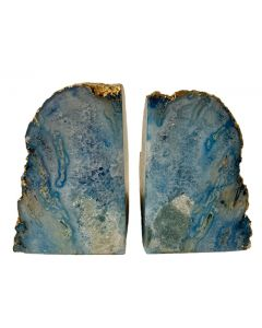 Gilt-Edged Blue Dyed Agate Bookends