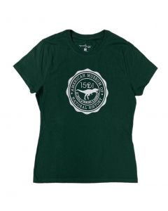 Ladies Dk Green AMNH Dinosaur Seal T-Shirt
