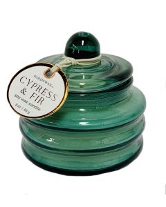 Cypress and Fir Candle in Green Glass Mini Pot