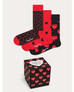 Men's Set of 3 Boxed Heart Design Happy Socks