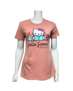 Ladies Peach Hello Kitty Hello Science T-Shirt