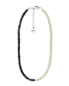 Modern Black and White Cultured Pearl Necklace