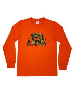 Youth Orange Long Sleeved T-Shirt with Camo AMNH Logo