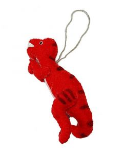 Handcrafted Red Felt T.rex Ornament