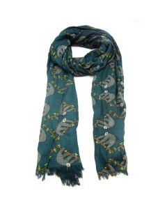 Green Oblong Sloth Print Scarf