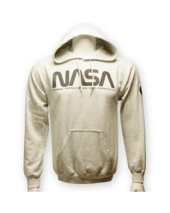 Adult Pale Gray NASA Worm Logo Hoodie