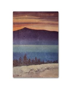 Chiura Obata, Evening glow wooden postcard