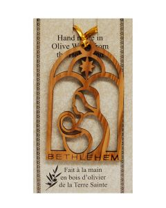 """Olive Wood """"Virgin Mary and Child"""" Ornament"""