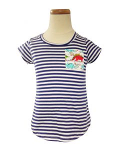 Girls Stripe Dino Pocket Tee