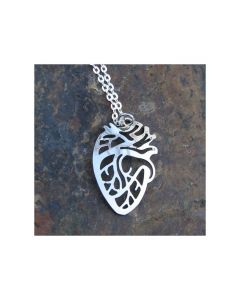 Silver Anatomical Heart Necklace