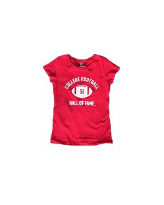 Girls College Football Hall of Fame Logo T-Shirt Red