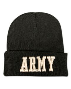 Army Embroidered Beanie Black
