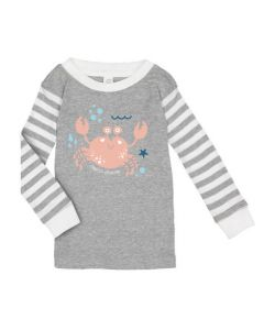 100% Combed ringspun cotton baby crew long sleeve