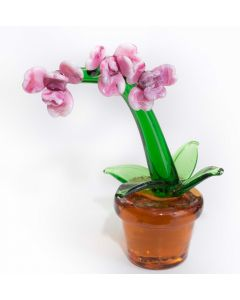 Glass Orchid in Pot Ornament