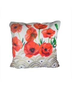 Red Poppy Silk Pillow